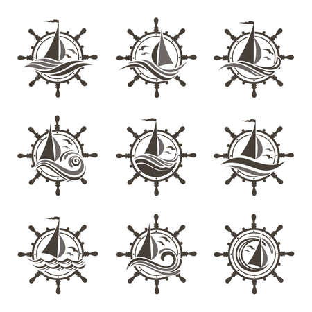 icons collection of sailing yacht, handwheel and ocean waves with seagulls Vettoriali