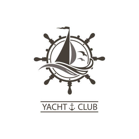 icon of sailing yacht, helm and ocean waves with seagulls