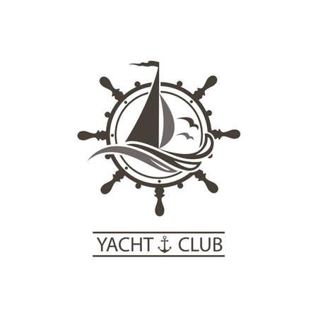 icoon van zeiljacht, roer en oceaangolven met meeuwen