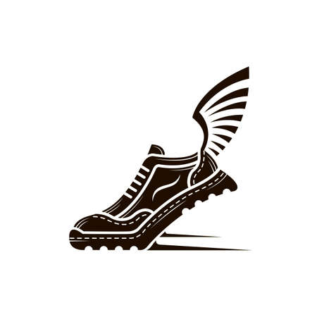 speeding running sport shoe icon with wings