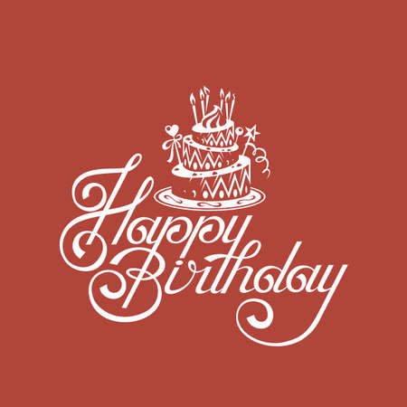 happy birthday card with cake on red background