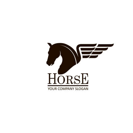 monochrome emblem of a horse head on white background Illustration