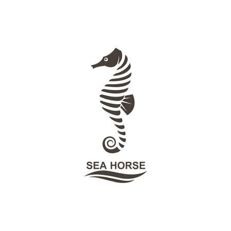 Icoon van zeepaardje op geïsoleerde witte achtergrond.
