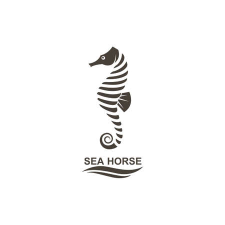Icon of seahorse on isolated white background.