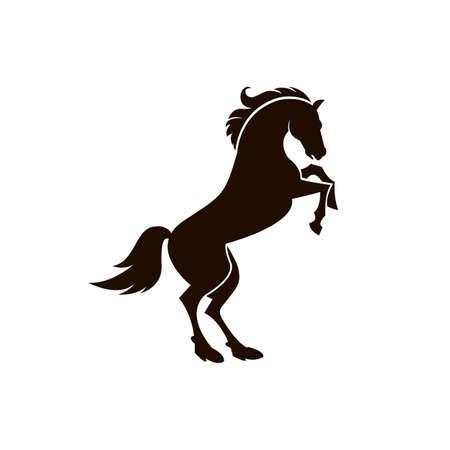 Een zwart-wit pictogram van paardsilhouet op witte achtergrond Stock Illustratie