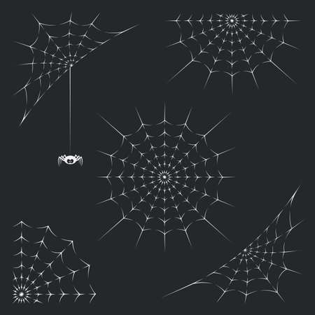 A collection of illustrations with spider and spiderweb on black background