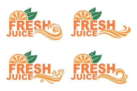 collection of colorful orange fresh juice emblems Illustration