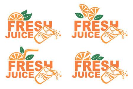 Collection of colorful orange fresh juice emblems