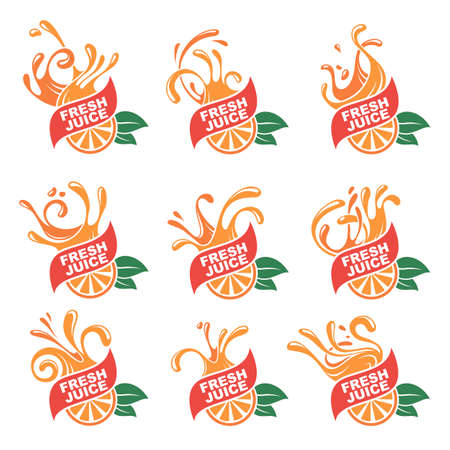 Collection of colorful orange fresh juice emblems.