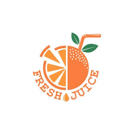 Colorful orange fresh juice emblem on white background. Illustration