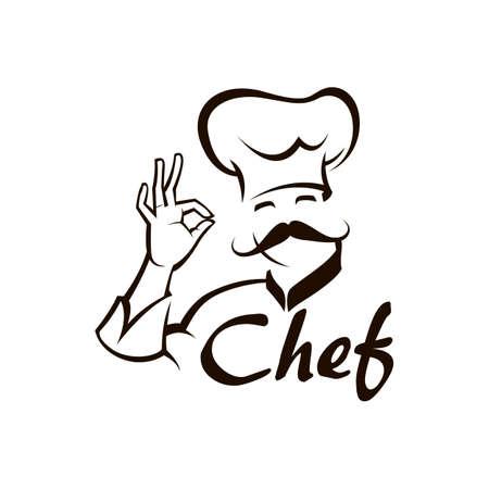 monochrome illustration of whiskered chef 向量圖像