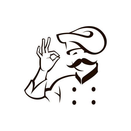 monochrome illustration of whiskered chef Stock Illustratie