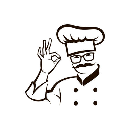 monochrome illustration of whiskered chef
