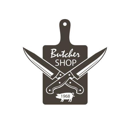 Monocromático açougue emblema da placa de corte de cozinha, facas e porcos cruzados Foto de archivo - 93340999