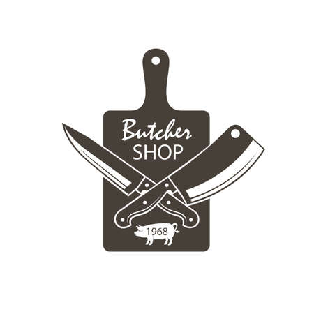 Monochrome butcher shop emblem of kitchen cutting board, crossed knives and pigs Illustration