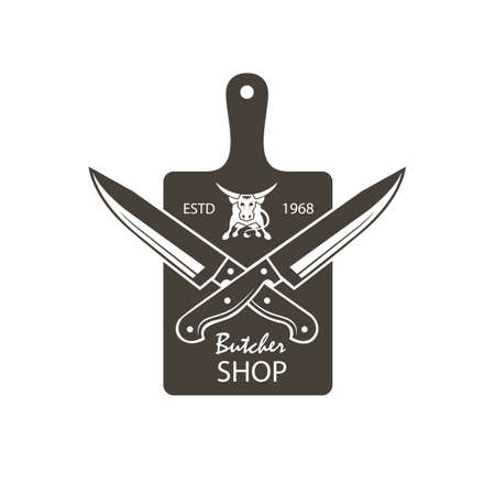 Monochrome butcher shop emblem of kithen cutting board, crossed knives and cow