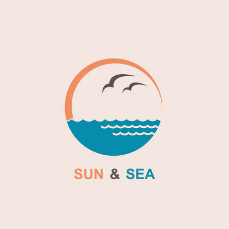 logo of the sun, waves and seagulls