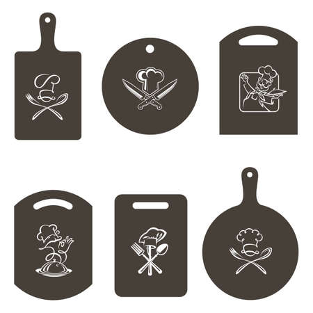 collection of monochrome image of kitchen cutting boards with chef icons Vectores