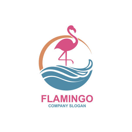 Collection of pink flamingo emblems with sun and waves Ilustração