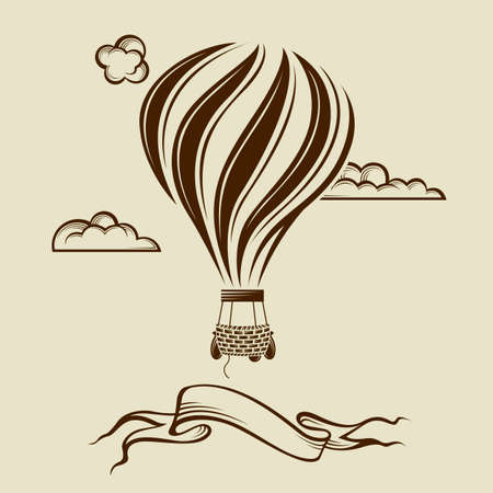 vintage hot air balloon image with clouds Illustration