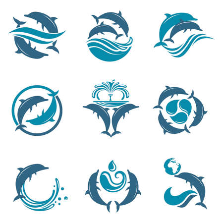 collection with abstract emblem of dolphin and sea wave