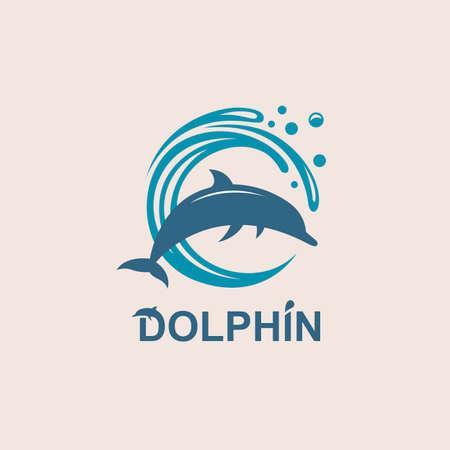 Abstract emblem of jumping dolphin and sea wave. Illusztráció