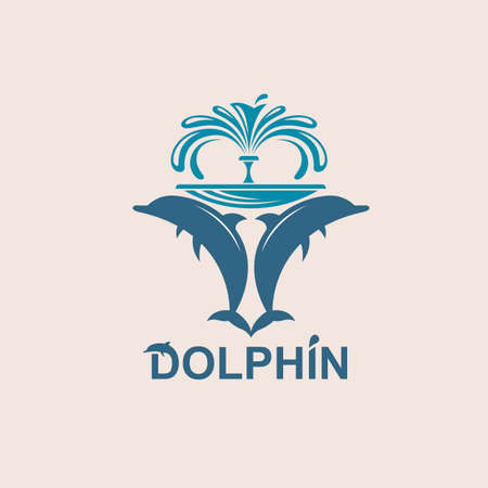 abstract emblem of jumping dolphin and sea wave Illustration