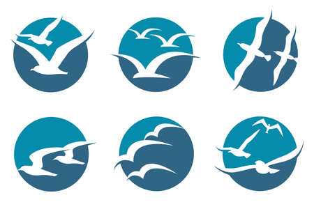 Collection of icon with flying seagull silhouettes. Vettoriali