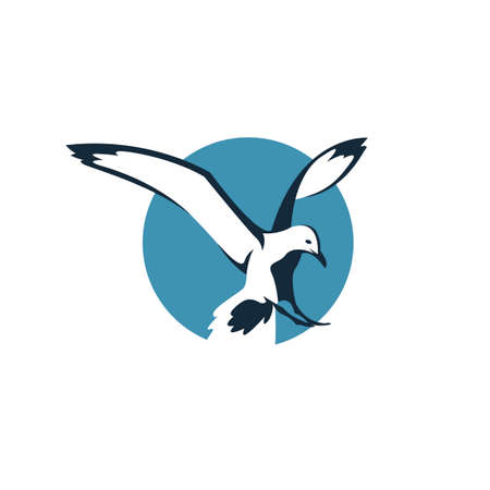 Icon of flying seagull in blue circle