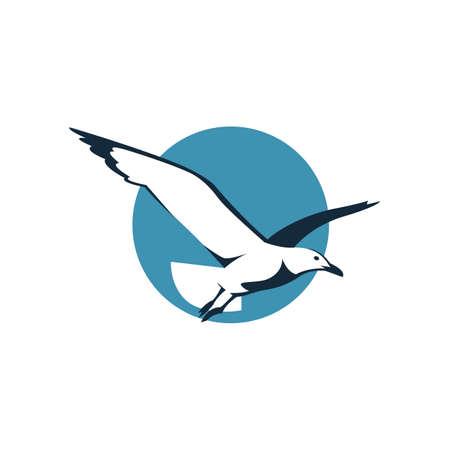 icona di volo del gabbiano nel cerchio blu