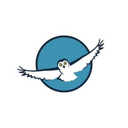 emblem of flying owl on blue round Illustration