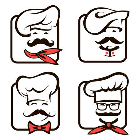 collection of icons with whiskered chefs