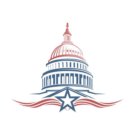 United States Capitol building icon in Washington DC 일러스트