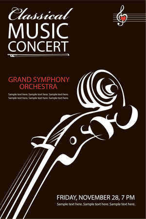 Cartel de concierto clásico monocromo con imagen de violín