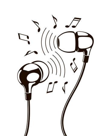 Ilustración negra de auriculares con notas musicales