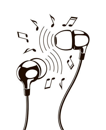 Black illustration of headphones with musical notes
