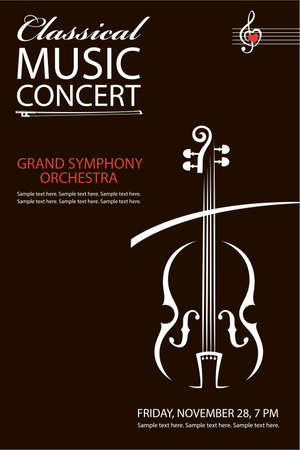 monochrome classical concert poster with violin image