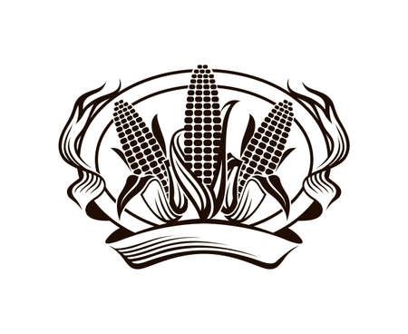 black farm corn vegetable emblem