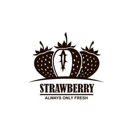 emblem of black strawberries on white background