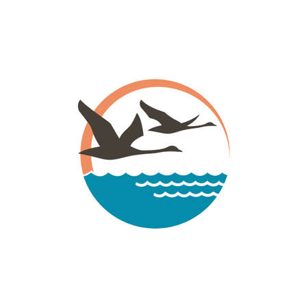 Abstract icon with swans, sun and waves illustration. 矢量图像