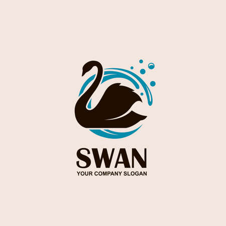 icon with black swan and blue waves