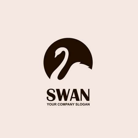Abstract emblem with swan in monochrome illustration. Illustration