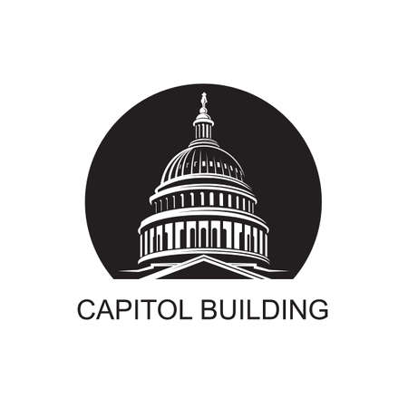 United States Capitol building icon in Washington DC Illustration