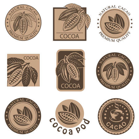 collection of labels with cocoa beans and leaves Stock Illustratie