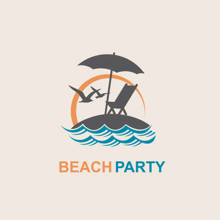emblem of summer vacation with reclining chair and umbrella on island