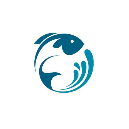 icona di pesce astratto con spruzzi d'acqua blu Vettoriali