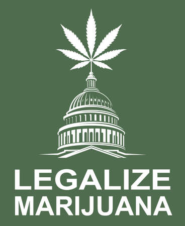 illustration of marijuana or cannabis leaf on capitol building