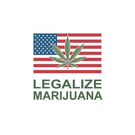 illustration of marijuana or cannabis leaf on usa flag 일러스트