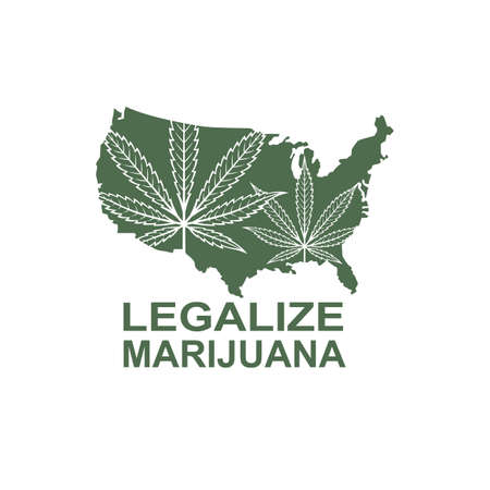 illustration of marijuana or cannabis leaf on usa map