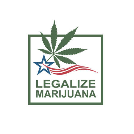 illustration of marijuana or cannabis leaf on usa flag Illustration